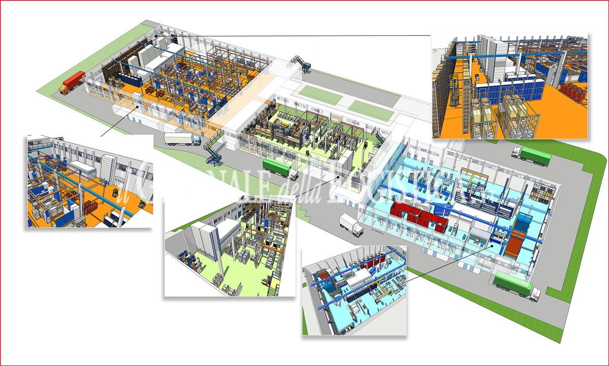 Il layout dei reparti produttivi di Microelettrica Scientifica
